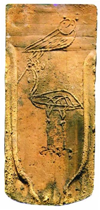 Symbolziegel Eule und Storch, Symbol für Leben und Tod